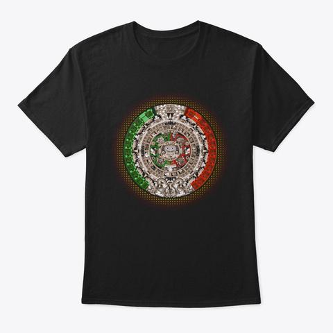 Aztec Calendar Sun Stone Mexican Art Black T-Shirt Front