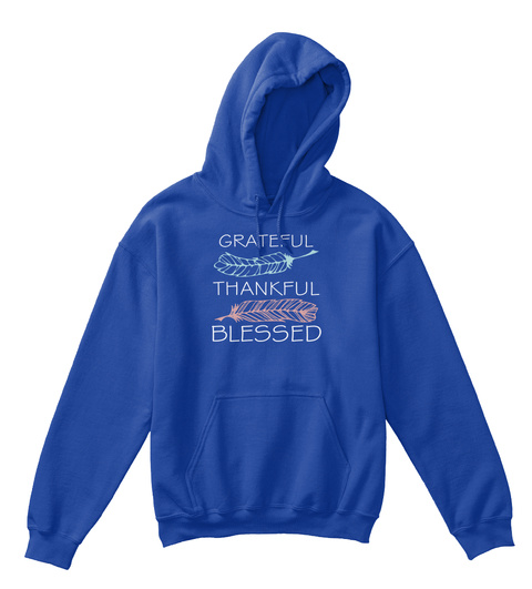 Grateful Thankful Blessed Royal T-Shirt Front
