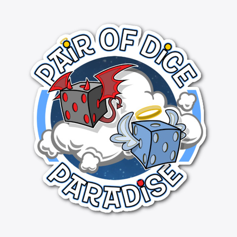 Pair Of Dice Paradise Logo Sticker Standard T-Shirt Front