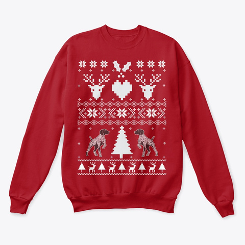 German Shorthaired Pointer Christmas  Deep Red  T-Shirt Front