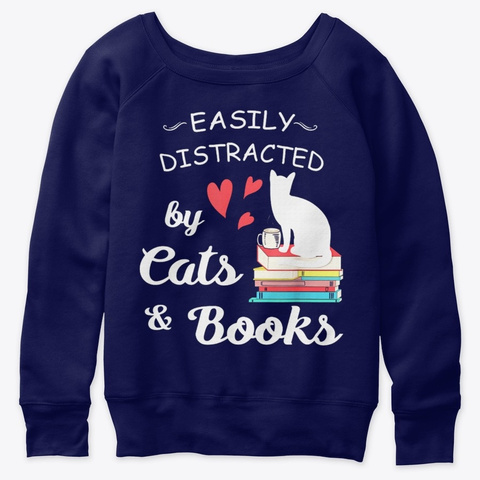 Easily Distracted By Cats Books T Shirt Navy  T-Shirt Front