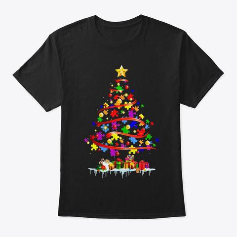 Christmas Tree Autism Christmas Tree Black T-Shirt Front