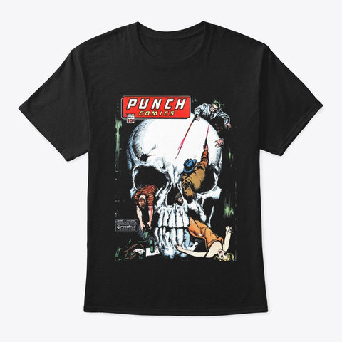 Punch Comics Black T-Shirt Front
