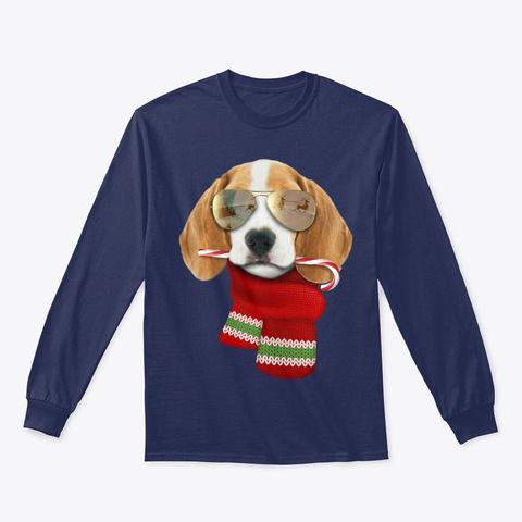 Beagle Shirt Christmas Gift For Dog Tee Navy T-Shirt Front