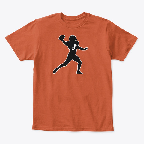 Qb Football Youth T Black/White Outline Deep Orange  T-Shirt Front