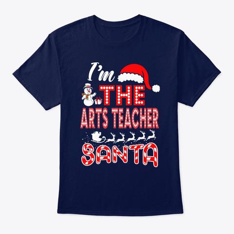 Arts Teacher Santa Christmas Navy T-Shirt Front