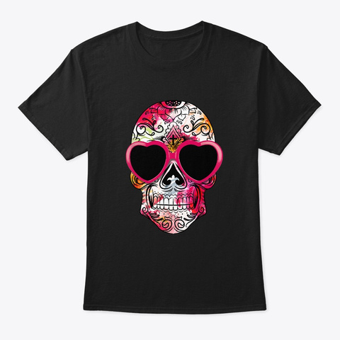 Day Of The Dead Sugar Skull Pink Heart Black T-Shirt Front