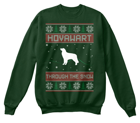 Hovawart Ugly Christmas Sweater Deep Forest  T-Shirt Front