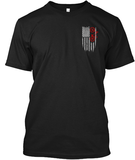 Mountain Biking   Usa Flag Black T-Shirt Front
