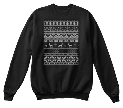 Christmas Jumper Pattern Black T-Shirt Front