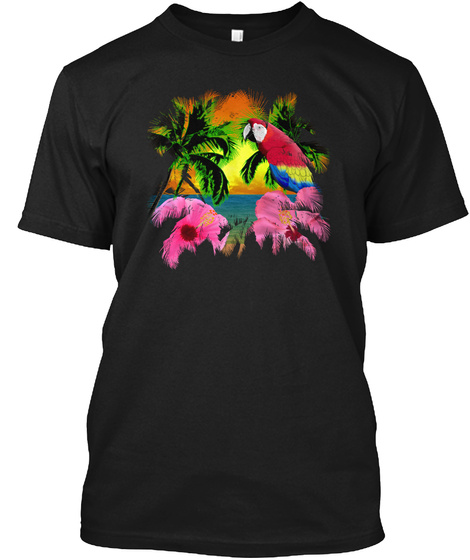 Tropical Sunset Beach With Parrot Black T-Shirt Front