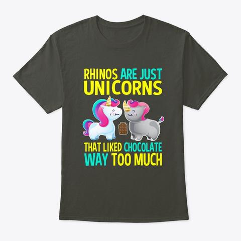 Rhino Unicorn Chubby Chocolate Smoke Gray T-Shirt Front