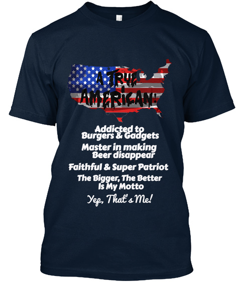 True American T Shirts New Navy T-Shirt Front