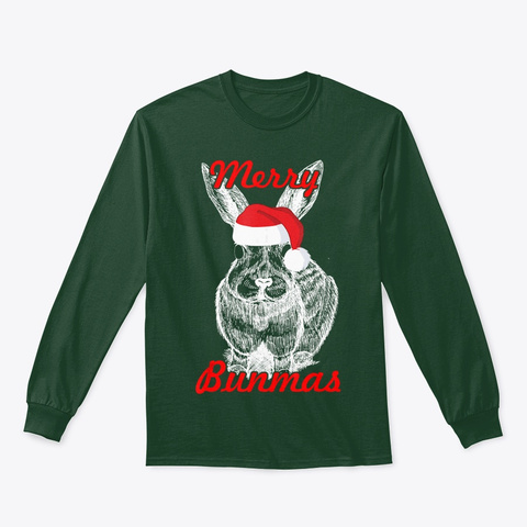 Christmas   Bunny Merry Christmas T Shir T Forest Green T-Shirt Front