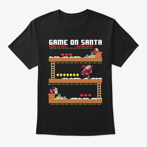 Video Game On Santa Ugly Christmas Gamer Black T-Shirt Front