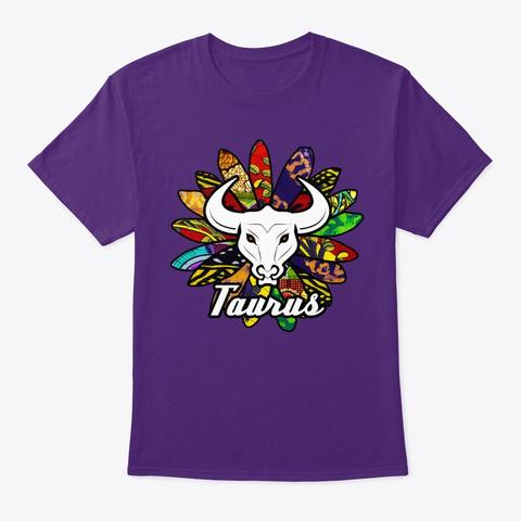 Taurus African Flower Purple T-Shirt Front