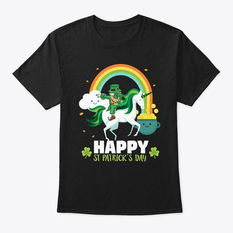 Funny St Patricks Day Unicorn Design  Black T-Shirt Front