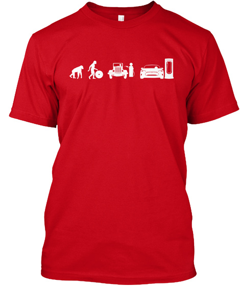 Model S Evolve By Mad Hungarian Red T-Shirt Front
