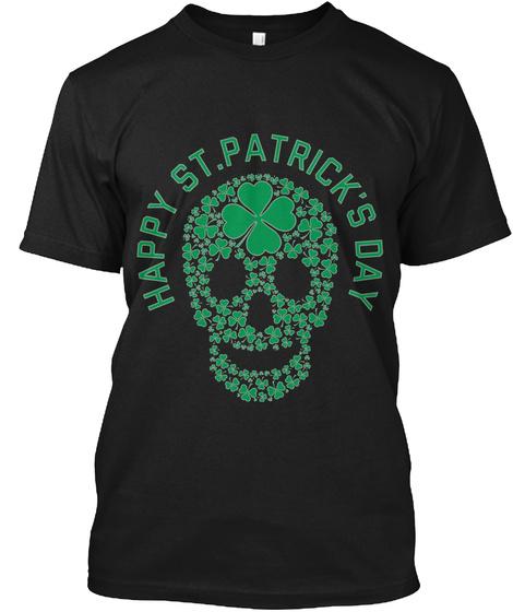 St Patricks Day Shamrocks Skull T Shirt Black T-Shirt Front