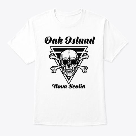 Oak Island Nova Scotia Retro Skull Canad White T-Shirt Front