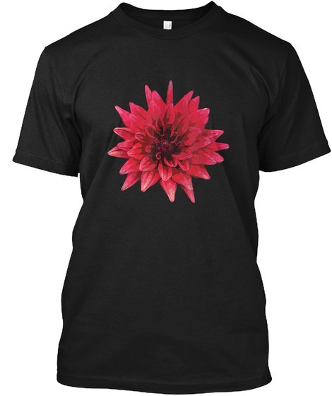 Red Dahlia Large Flower Poster Style Dis Black T-Shirt Front