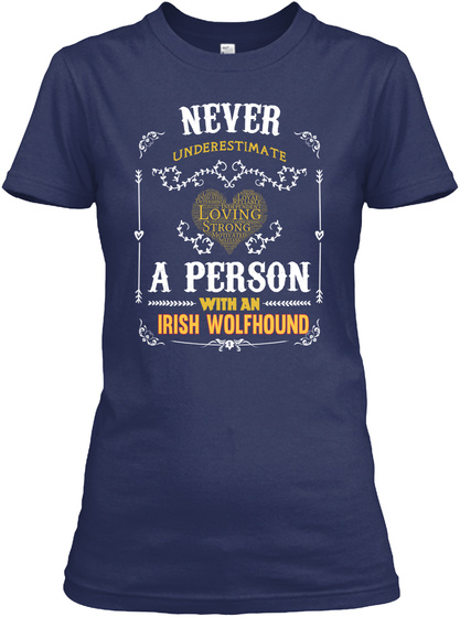 A Person With An Irish Wolfhound Navy T-Shirt Front
