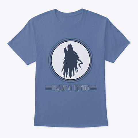 Howling At The Moon Denim Blue T-Shirt Front
