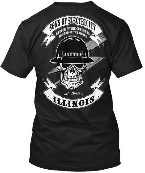 Sons Of Electricity Illinois Tee/Hoodie Black T-Shirt Back