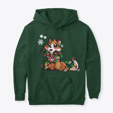 Christmas With The Fox Fam Forest Green T-Shirt Front
