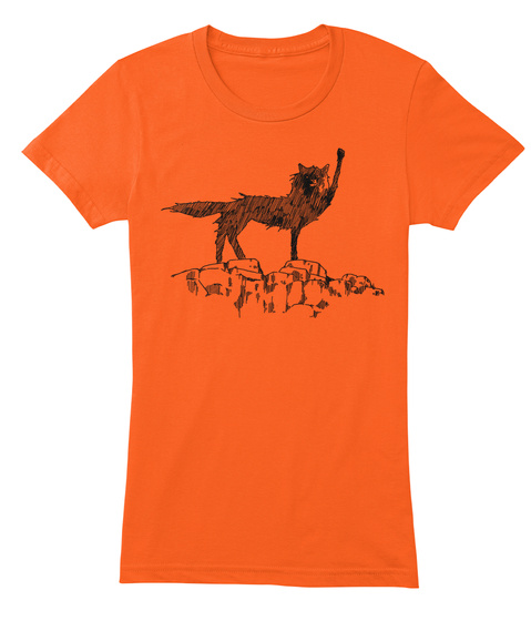 The Coolest Wolf Moment Ever. On A Shirt Orange Kaos Front