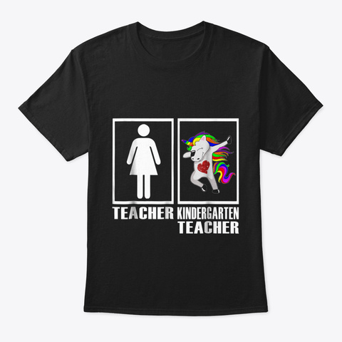 Funny Unicorn Dabbing Kindergarten Teach Black T-Shirt Front