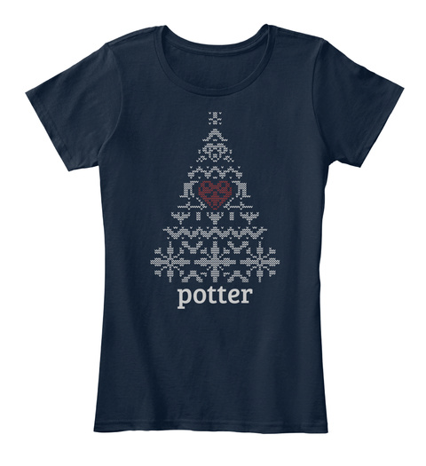 Potter Christmas Tree New Navy T-Shirt Front