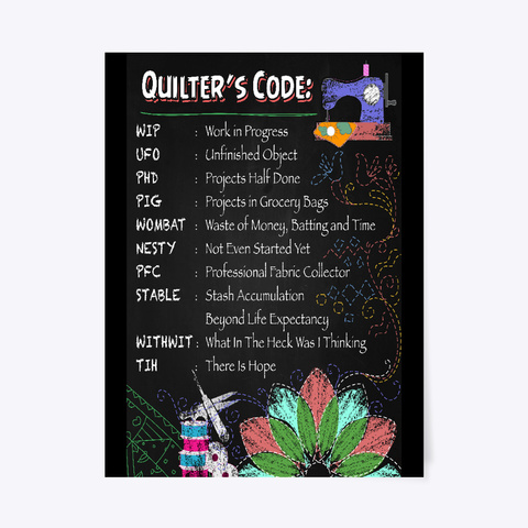 Quilter's Code Poster Black T-Shirt Front