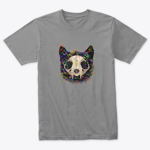 Colorful Cat Head And Skull Premium Heather T-Shirt Front