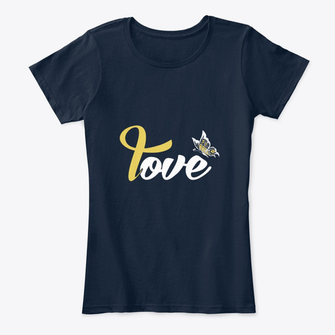 Childhood Cancer Awareness Butterfly New Navy T-Shirt Front