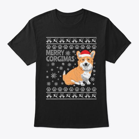 Corgi Christmas Holiday Black T-Shirt Front