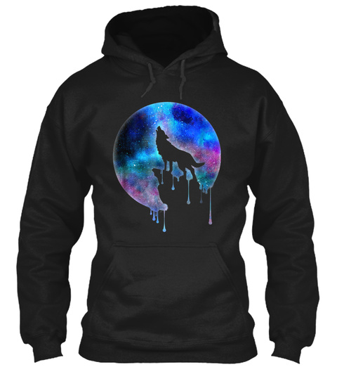 Watercolor Full Moon Howling Wolf Black T-Shirt Front