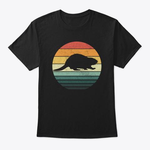 Beaver Sunset Retro Vintage 70s Animal Black T-Shirt Front