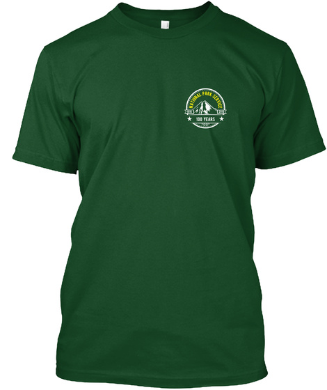 Nps 100 Yr   Mountain Front + Back Print Deep Forest T-Shirt Front