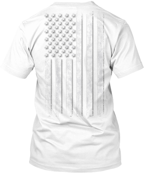 White Out American Flag White T-Shirt Back