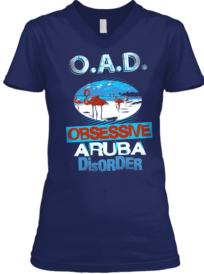 O.A.D. Obsessive Aruba Disorder  Navy T-Shirt Front