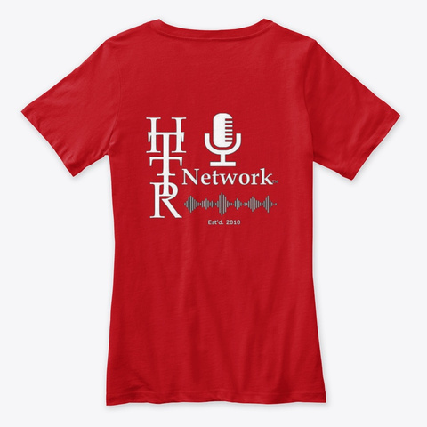 Hot Topics Talk Radio/Ladies V Neck T Red T-Shirt Back