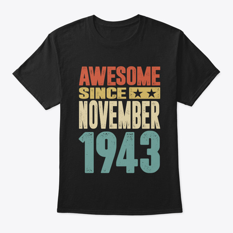 Born In November 1943 Black T-Shirt Front