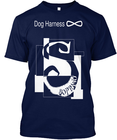 Dog Harness Navy T-Shirt Front