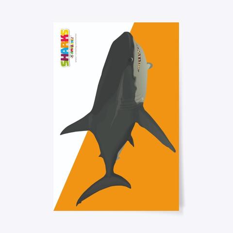 Large Shark Poster Standard T-Shirt Front