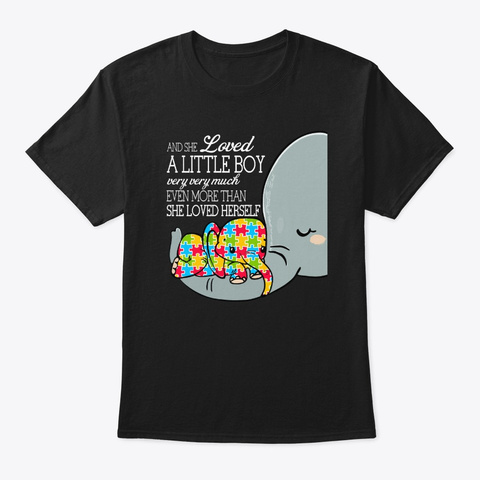 Autism Elephan Puzzle Awareness Gift Black T-Shirt Front