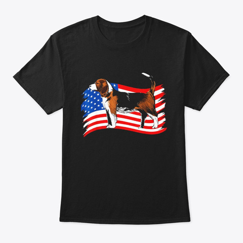 Beagle American Flag 4th Of July Dog Black T-Shirt Front