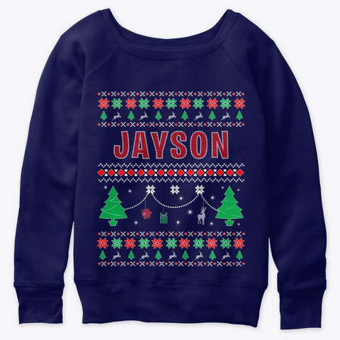 Ugly Christmas Themed Gift For Jayson Navy  T-Shirt Front