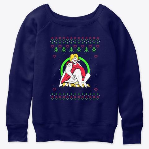 Ugly Christmas Funny Smoker Navy  T-Shirt Front