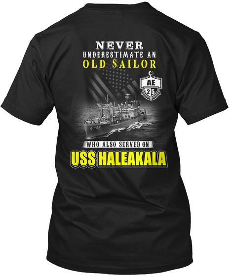 Uss Haleakala Ae 25 Old Sailor Black T-Shirt Back
